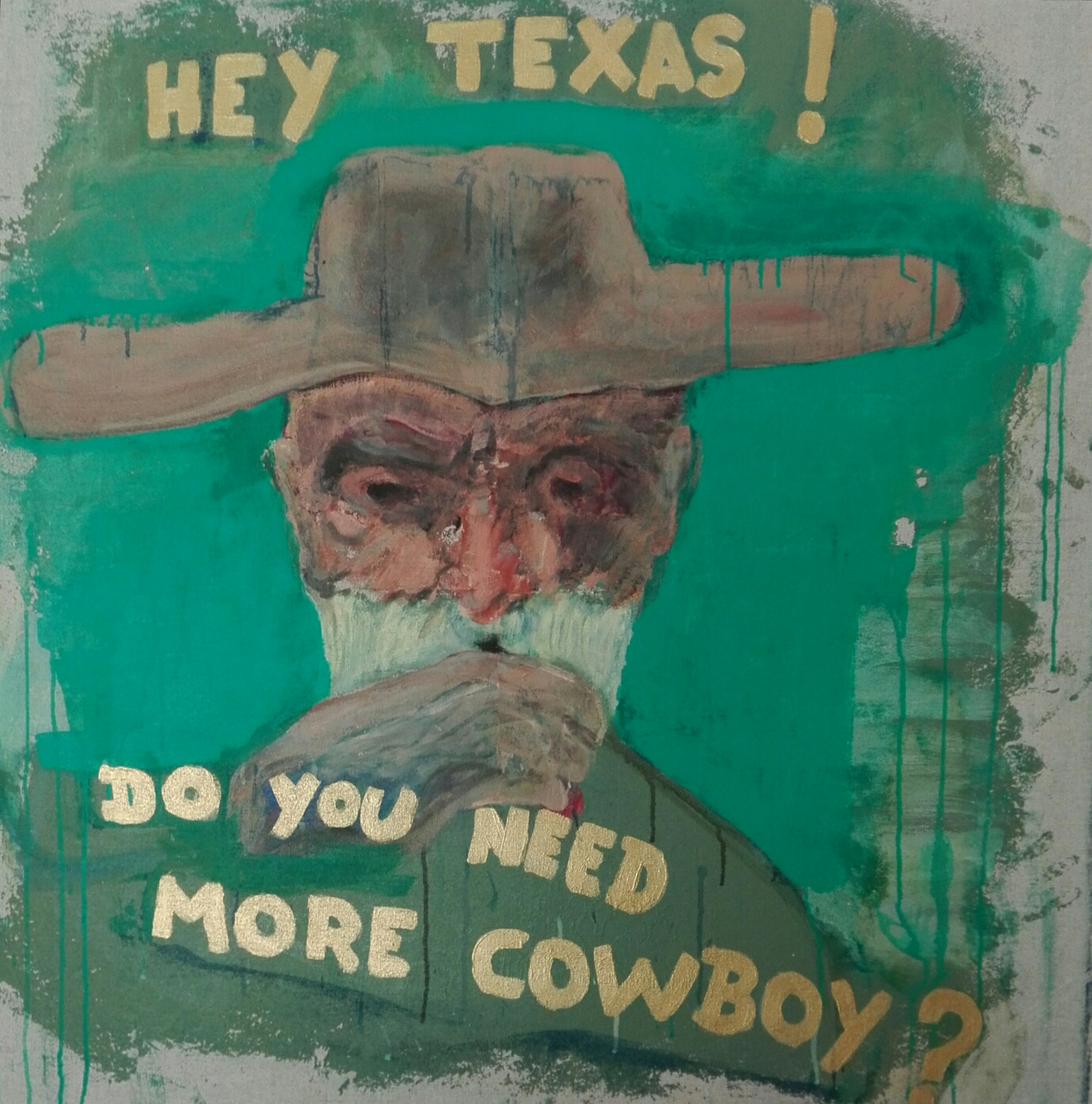 Not available - «More cow-boy ?» 98x98cm Sennelier acrylic on linen.