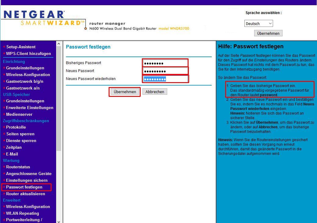 Bei einem NETGEAR Router wird hier ein neues Kennwort eingegeben. Wenn das Kennwort stark genug ist, ist eine Änderung des Benutzernamens nicht nötig.