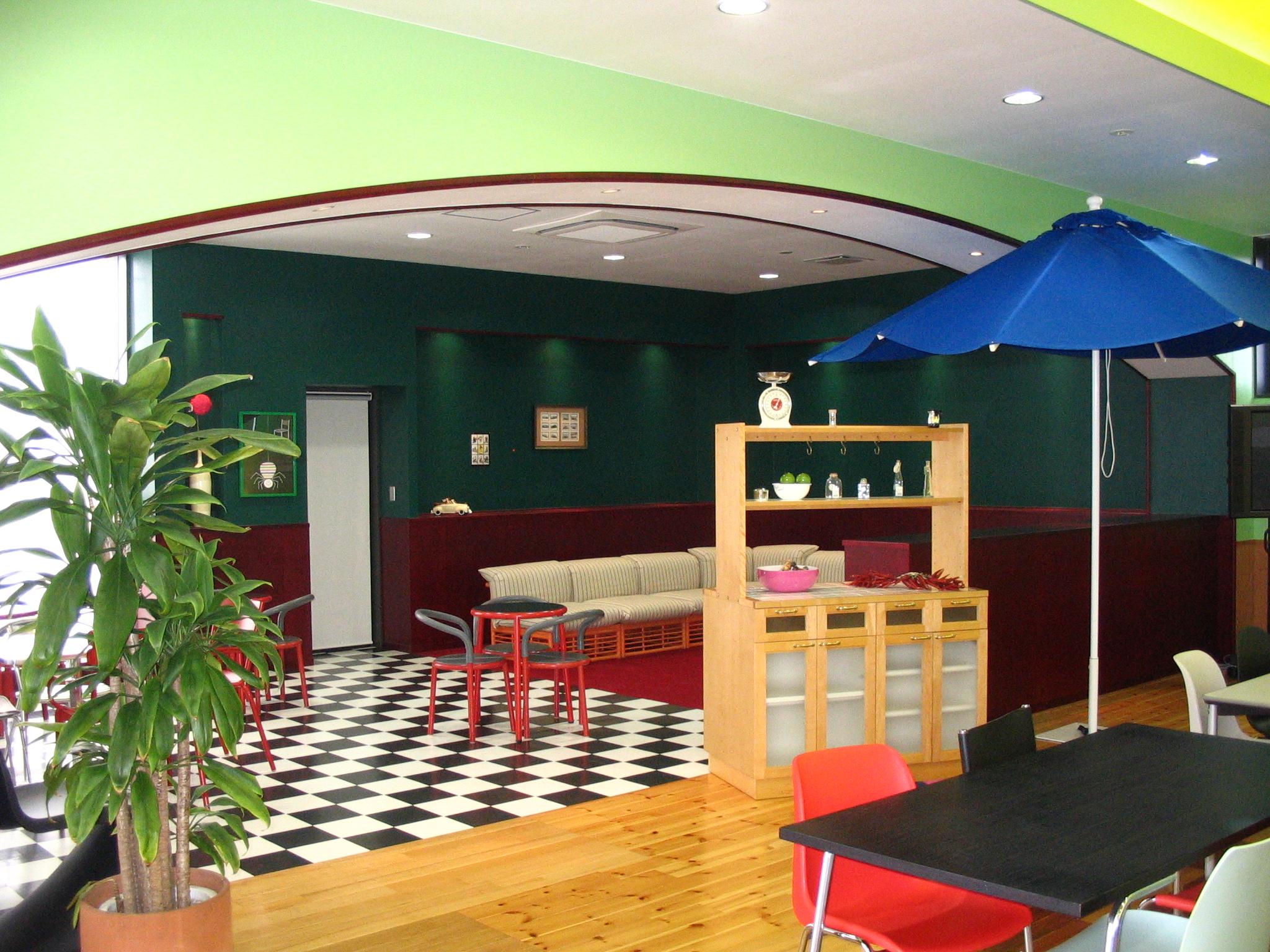 食堂脇の休憩スペース