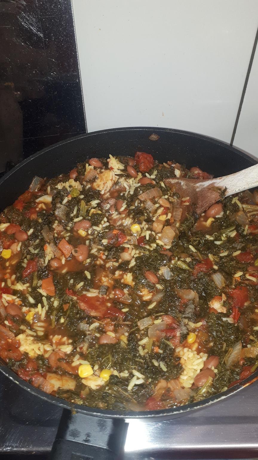 Paella Grünkohl,Reis,Bohnen ( Vegi )