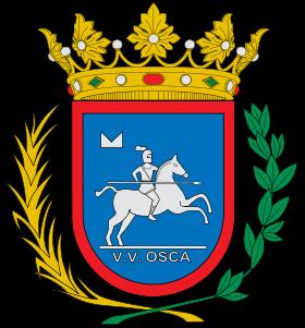 """Escudo Actual de Huesca con la leyenda """"V. V. OSCA"""" - """"URBS VICTRIX OSCA""""- (""""Ciudad Vencedora Huesca"""")"""
