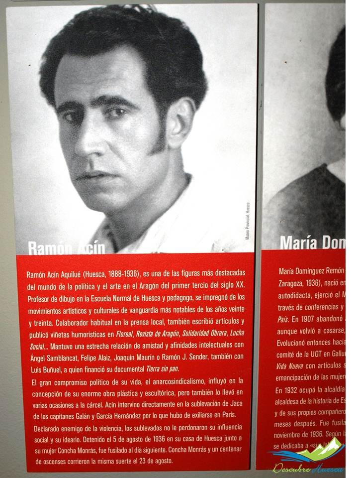 Paneles explicativos sobre figuras destacadas de la Guerra Civil en Aragón, Ramón Acín.