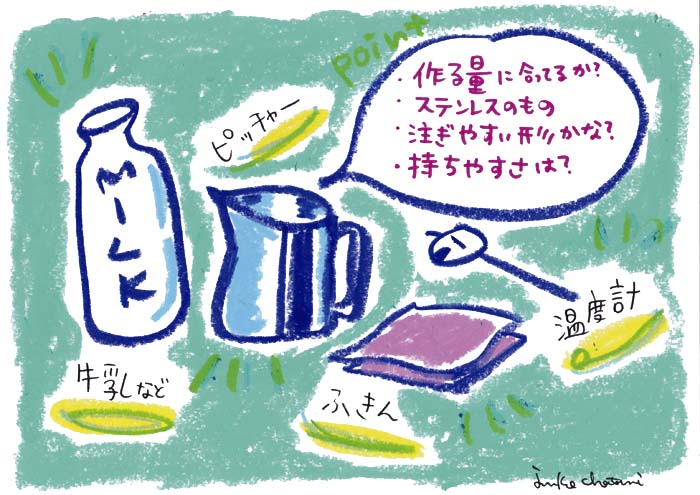 スチームグッズイラスト コーヒーグッズ ミルクのスチーム 茶谷順子