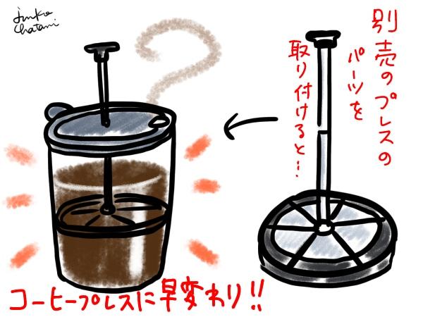コーヒープレスパーツを取り付けたjetboil 茶谷順子画