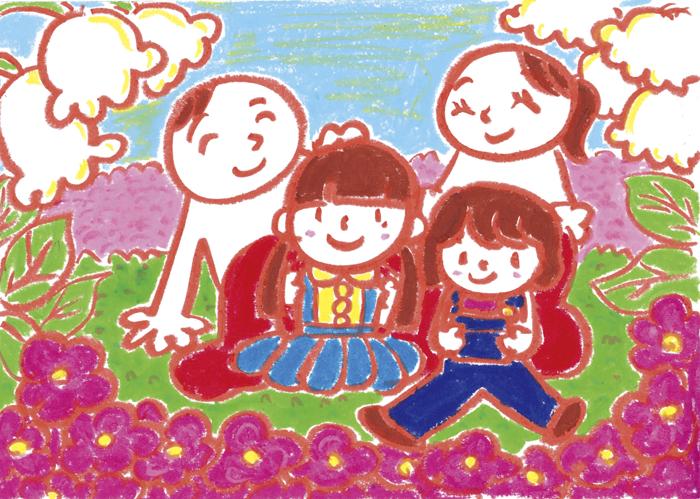 家族4人で花に囲まれたイラスト 茶谷順子作