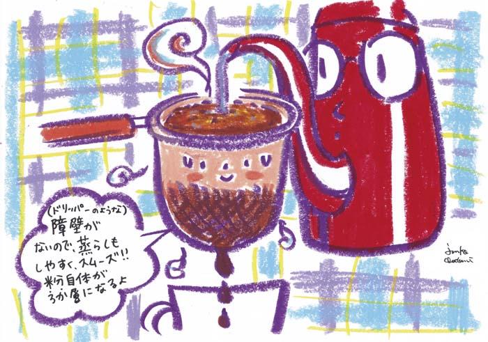 ネルドリップ抽出中。 コーヒーイラスト 茶谷順子