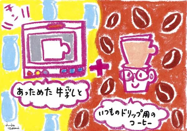 茶谷順子 コーヒーイラスト 牛乳でドリップイラスト