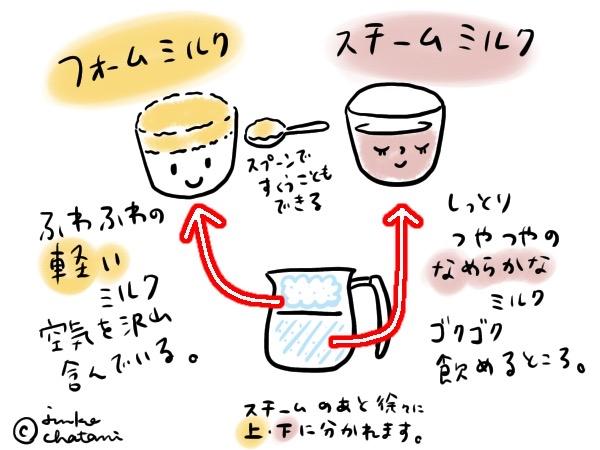 フォームミルクとスチームミルク イラスト 茶谷順子作画