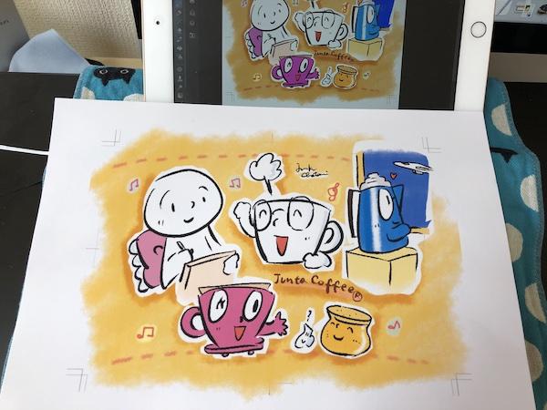台紙に合わせて色々描くのも楽しいひととき。