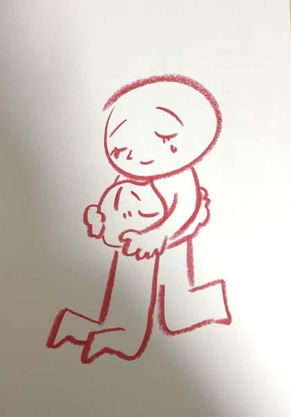 親子が抱き合うイラストの線画 茶谷順子作