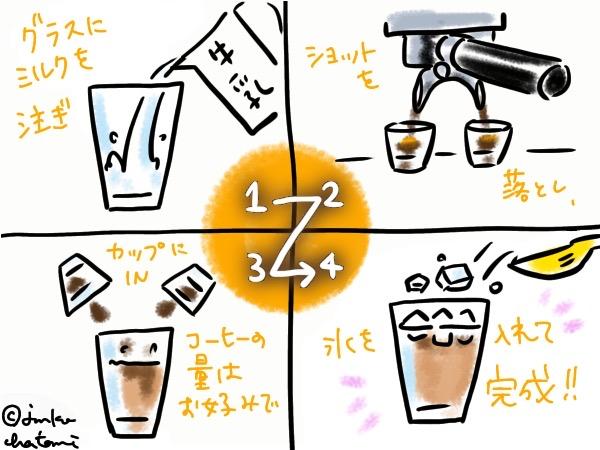 アイスカフェラテ作り方 イラスト 茶谷順子作画