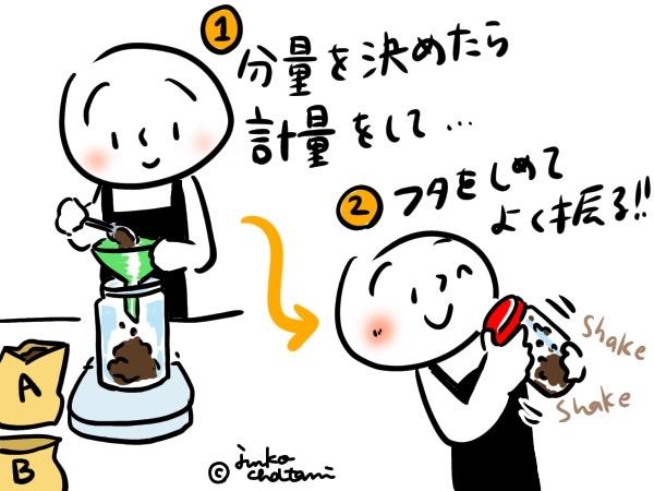 ブレンドコーヒーを作っているイラスト
