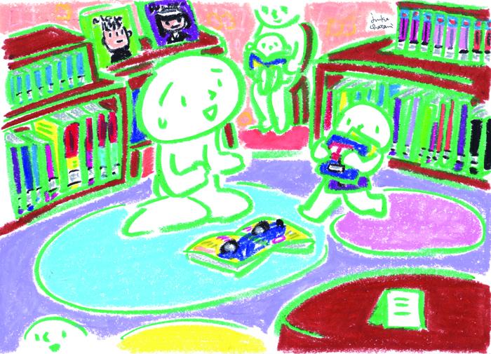 茶谷順子 イラスト 図書館 子供のコーナー