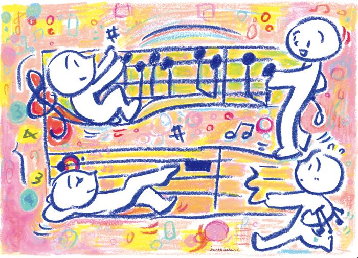 イラストレーター 茶谷順子 playful mind 五線譜のイラスト