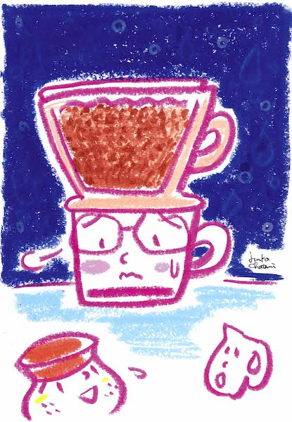茶谷順子 コーヒーイラスト 牛乳ドリップが失敗に終わる