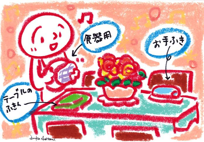 テーブル上を準備するイラスト 茶谷順子