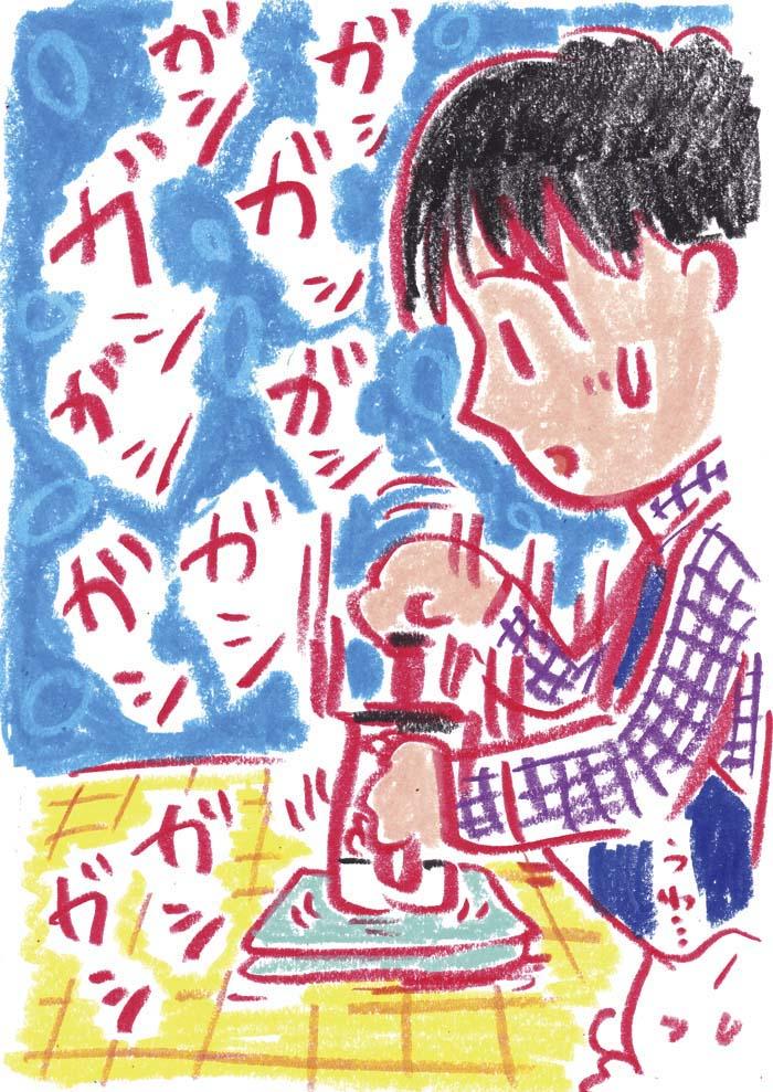 手動ミルクフォーマーイラスト 茶谷順子 コーヒー器具イラスト