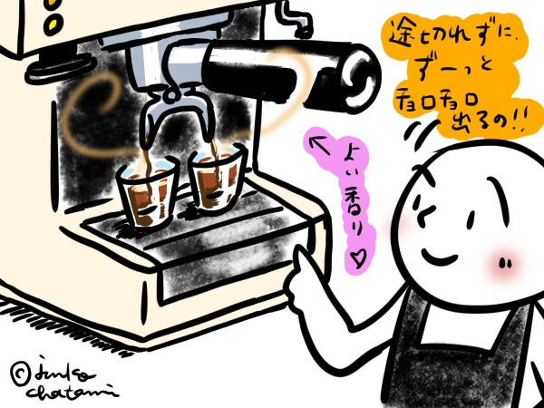 家庭用エスプレッソマシン イラスト 茶谷順子作画