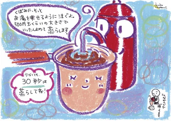ネルドリップ第1湯目。 コーヒーイラスト 茶谷順子