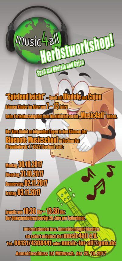 Bild Herbstworkshop music4all für Ukulele und Cajon