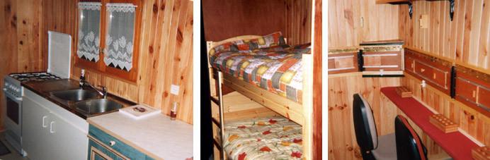 Aménagement intérieur de la hutte: cuisine,couchettes,  pas de tir.