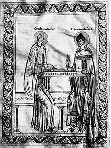 Der Benediktinermönch Guido von Arezzo (links), der Bischof Theobald von Arezzo (rechts) um 1025 am Monochord unterweist. Darstellung aus dem 12. Jahrhundert, Codex Lat. 51 f°35v., Wien, Österreichische Nationalbibliothek, Musiksammlung