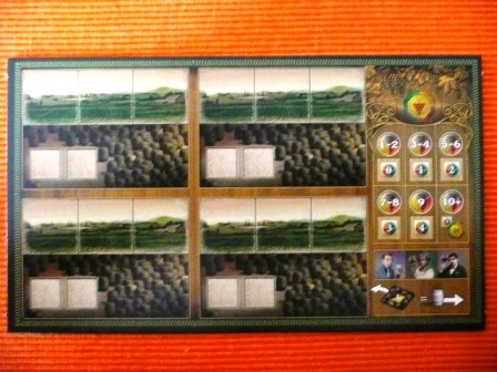 Das ist das Spielertebleau, das man am Anfang des Spiels bekommt. Die Tableaus sehen für alle Spieler gleich aus.
