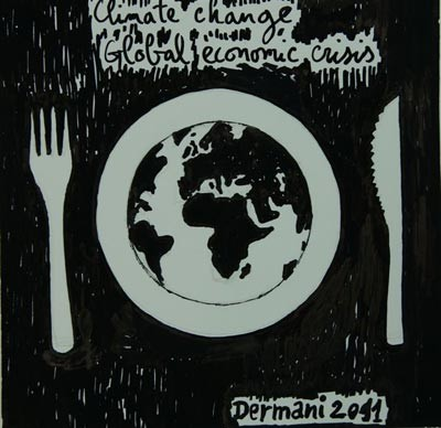 Climate Change and Global Economic Crisis, 2011, Ink on Paper ( 15 x 15 cm )