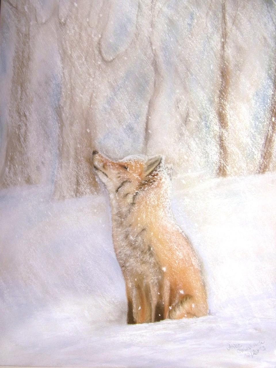 Winterfuchs, 2013, Pastell, 30*40 cm, Preis auf Anfrage