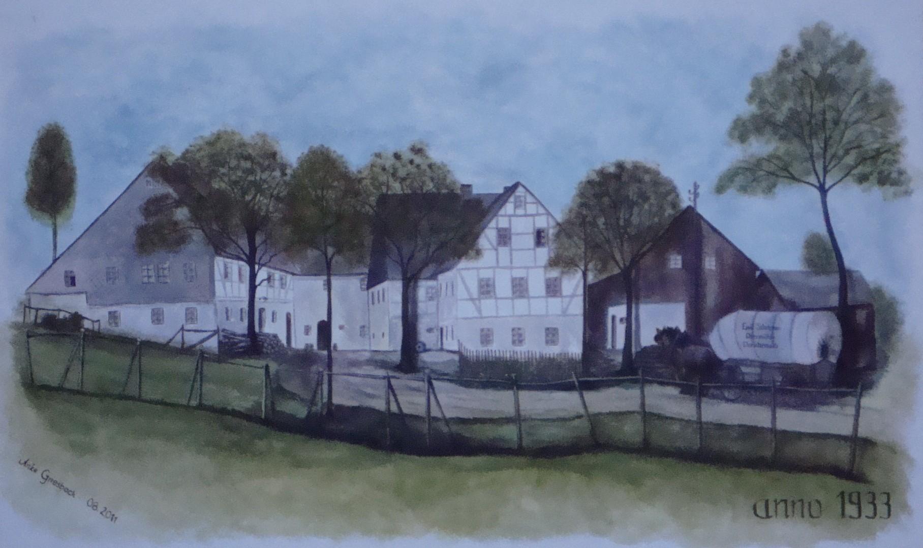 Wandmalerei: Mühle in Dorfchemnitz anno 1933, 2011, ca. 200*300 cm
