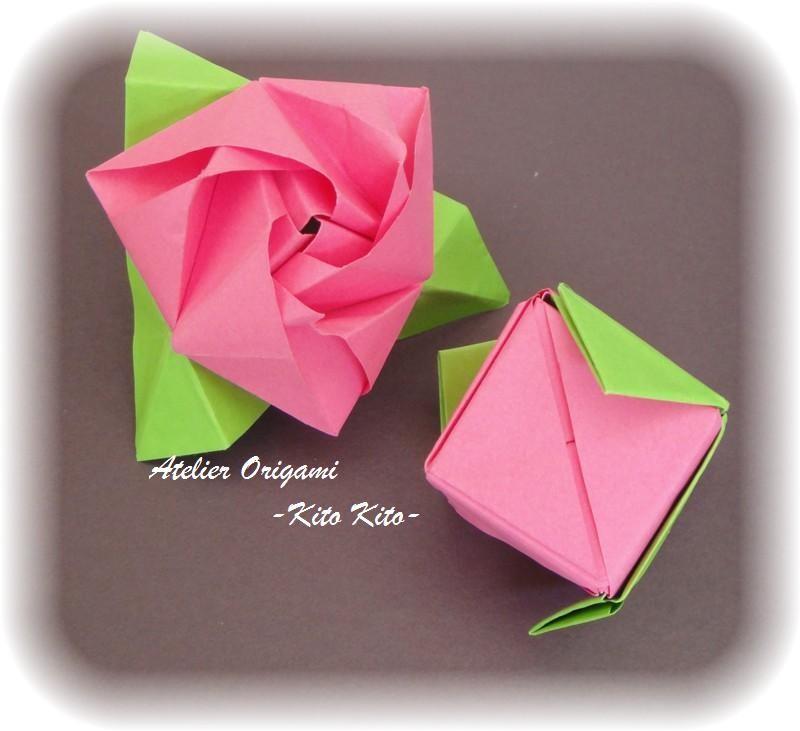 """Boîtes de l'origami """"Rose"""""""