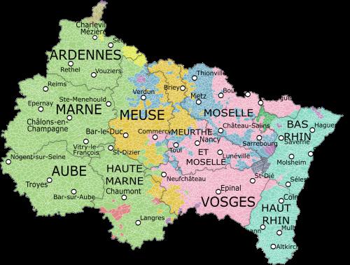 Regiones naturales (históricas) dentro del Gran Este. Alsacia en azul cielo