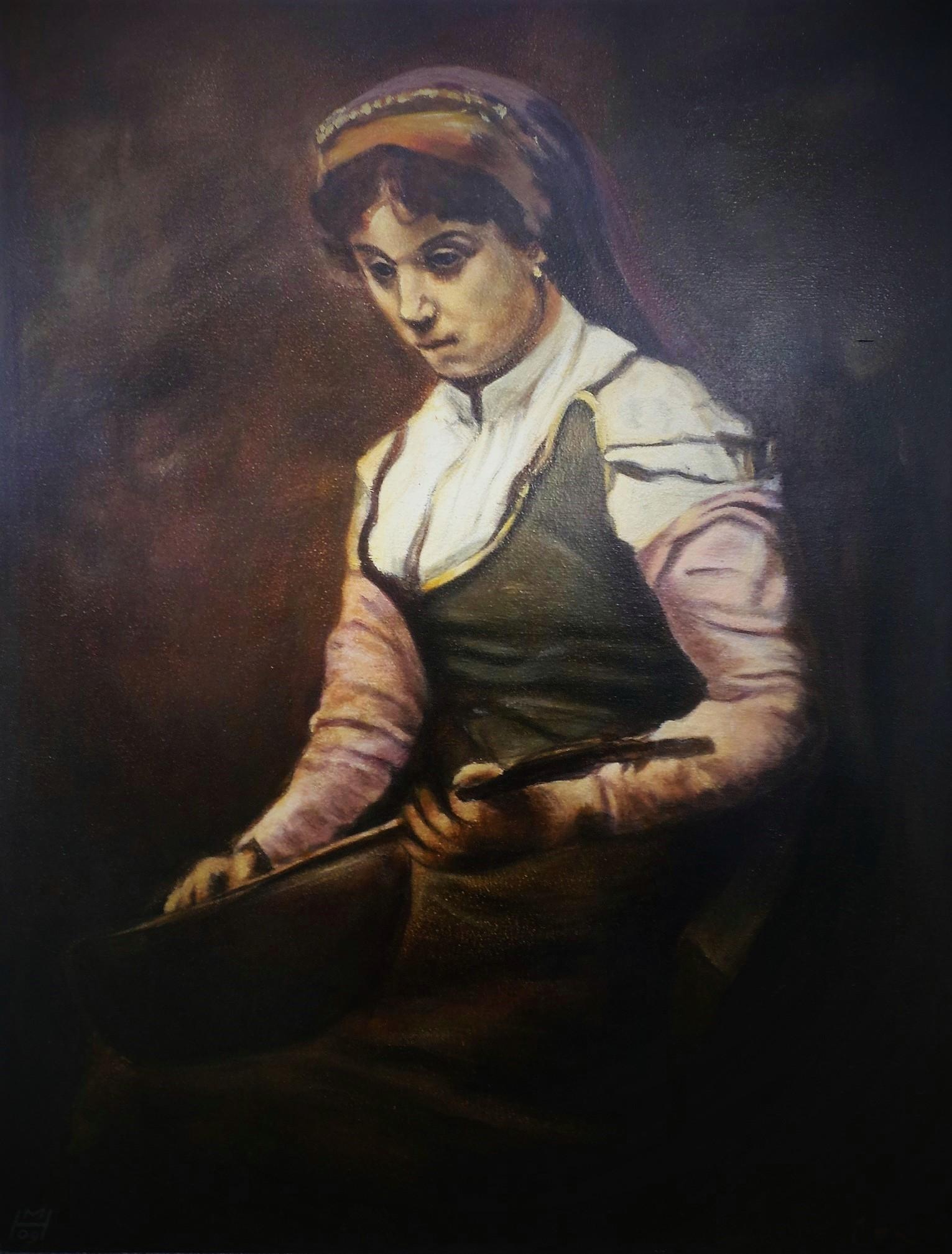 Kopie nach C. Corot, Akryl auf Holz, 54 x 70 cm