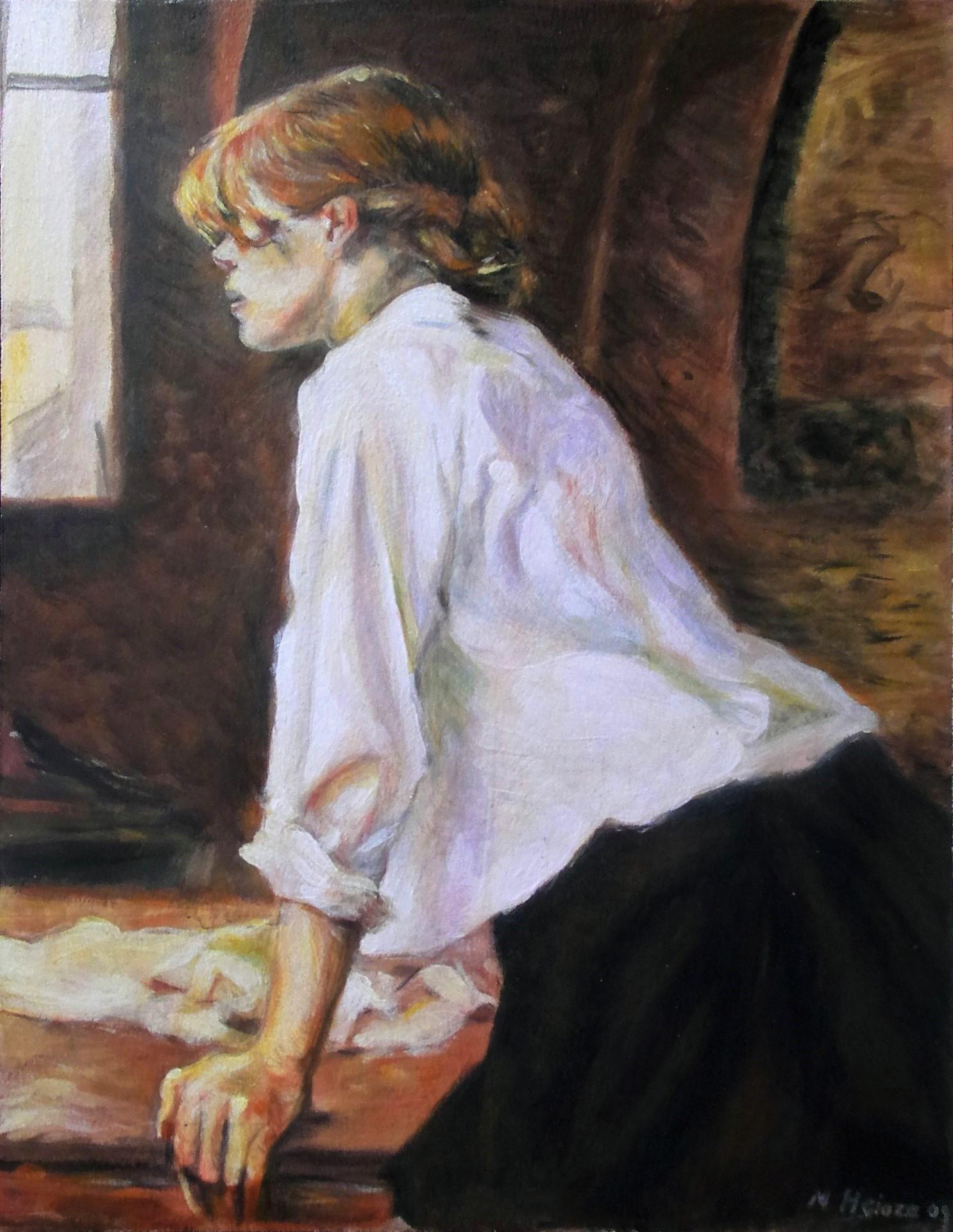 'Die Wäscherin' nach H. T. Lautrec, Akryl auf Holz, 41,7 x 54 cm