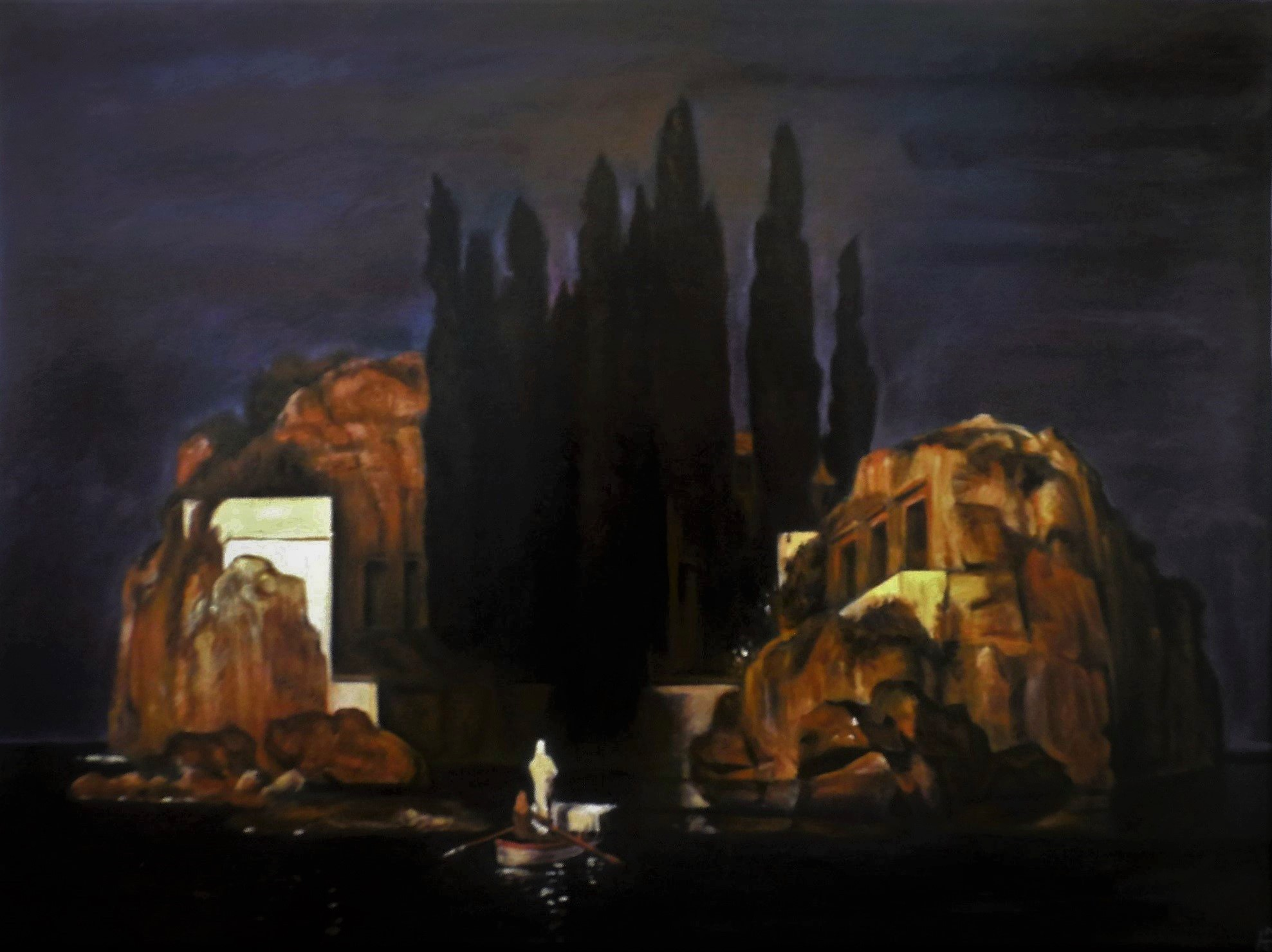 'Die Toteninsel' nach A. Böcklin, Akryl auf Holz, 80 x 59,7 cm