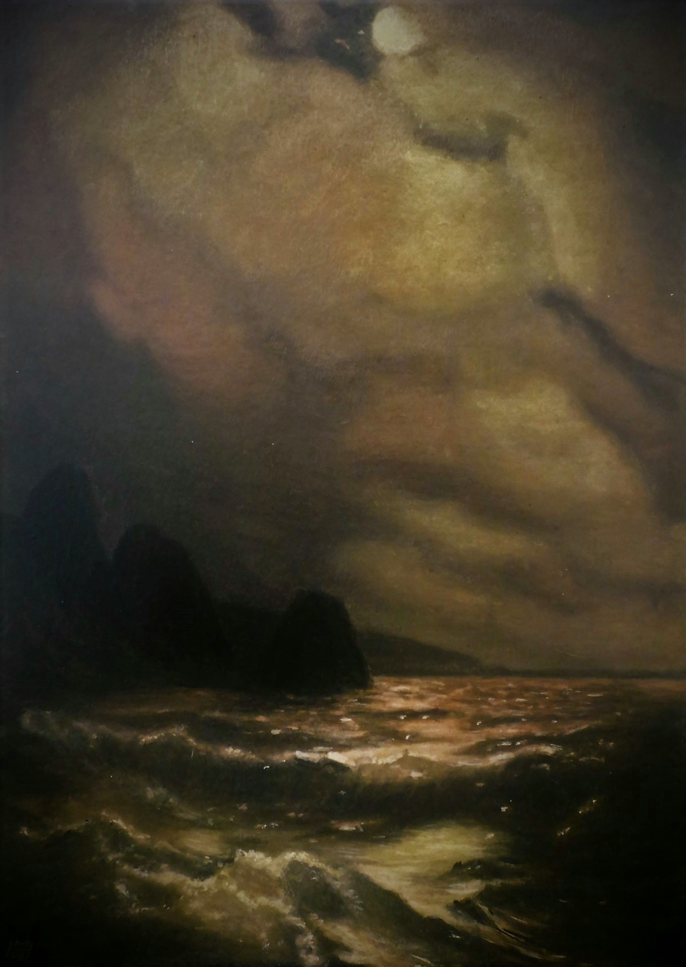 Kopie nach I. Aivazovsky, Akryl auf Holz, 30 x 42 cm