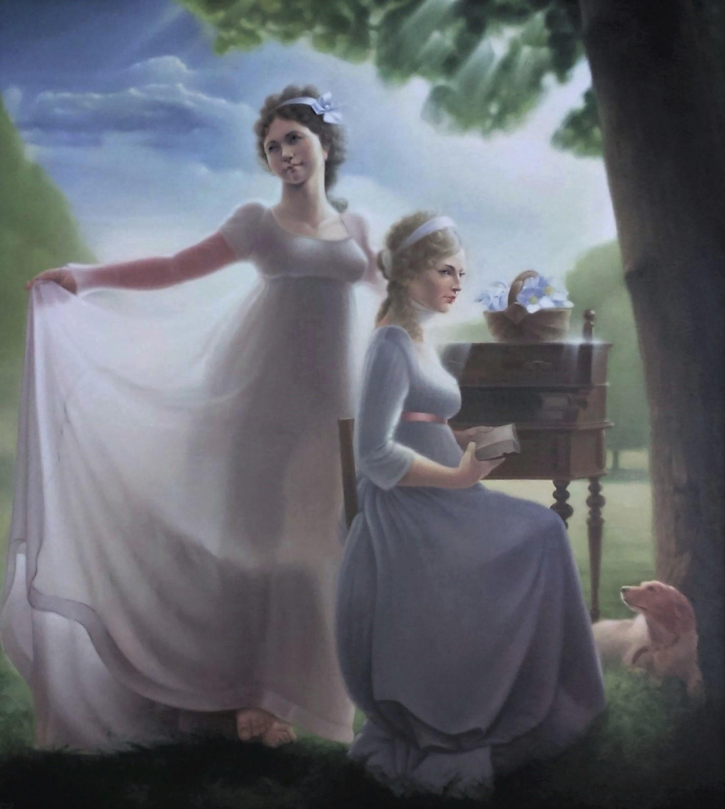 Luise und Friederike von Mecklenburg - Strelitz, Prinzessinnen von Preußen, Öl auf Leinwand, 90 x 100 cm
