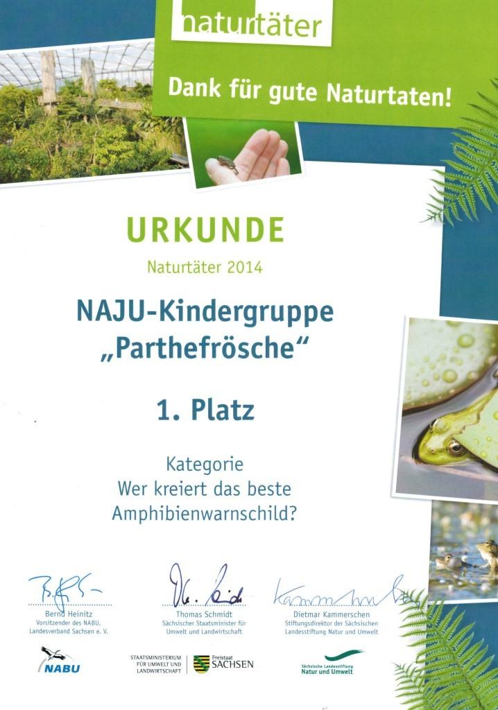 """Im Naturtäter-Wettbewerb """"Amphibienwarnschild"""" hat die Kindergruppe """"Parthefrösche""""  des NABU Plaußig-Portitz den 1. Platz belegt. Abbildung: LaNU/NABU Sachsen"""
