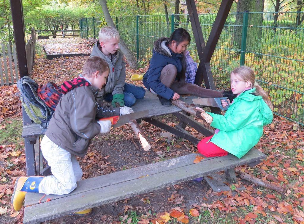 Für das Insektenhotel im Schulpark haben die Kinder Holz gesägt.