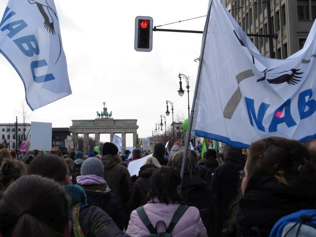 Der NABU im Demozug am Brandenburger Tor.