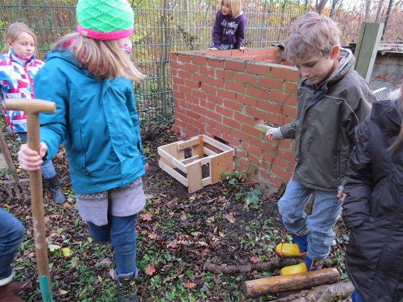 Die Igelkiste wurde im Schulgarten platziert.