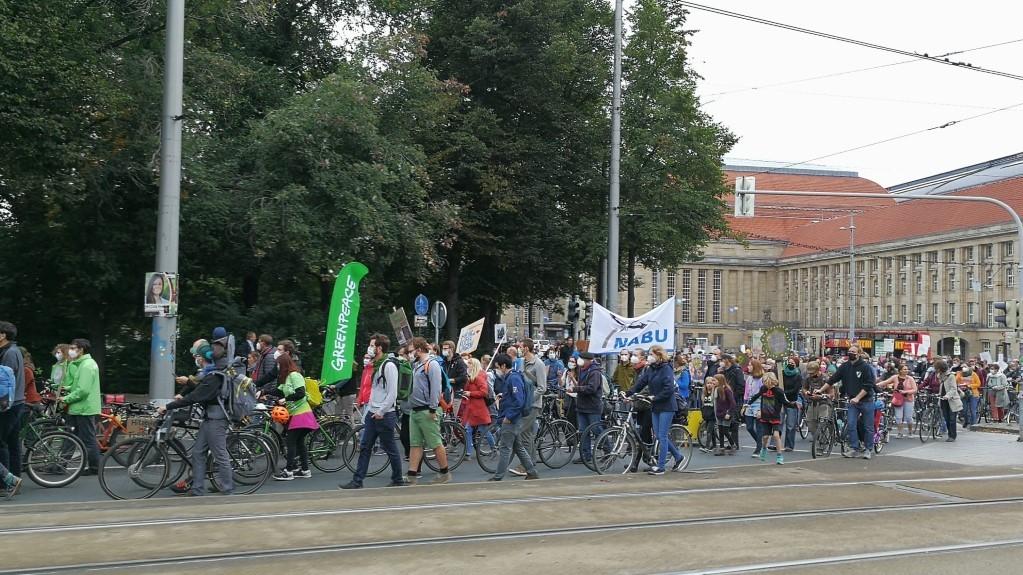 Der lange Demozug biegt auf den Ring ab.<br/>Foto: Anne Bartelt
