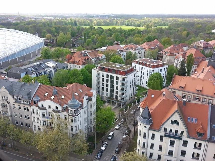 Blick vom Turm der Michaeliskirche aus Sicht der Dohlen