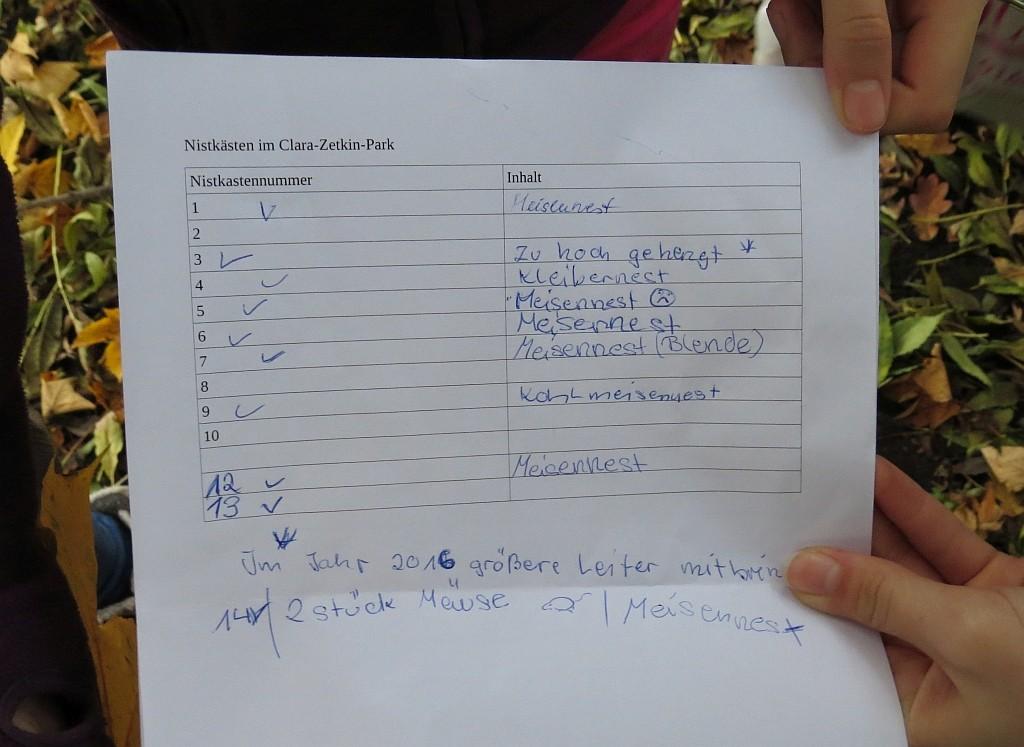 Dokumentiert wurde die Nistkasteninspektion nicht nur mit Zettel und Stift,...</p>Foto: Karsten Peterlein
