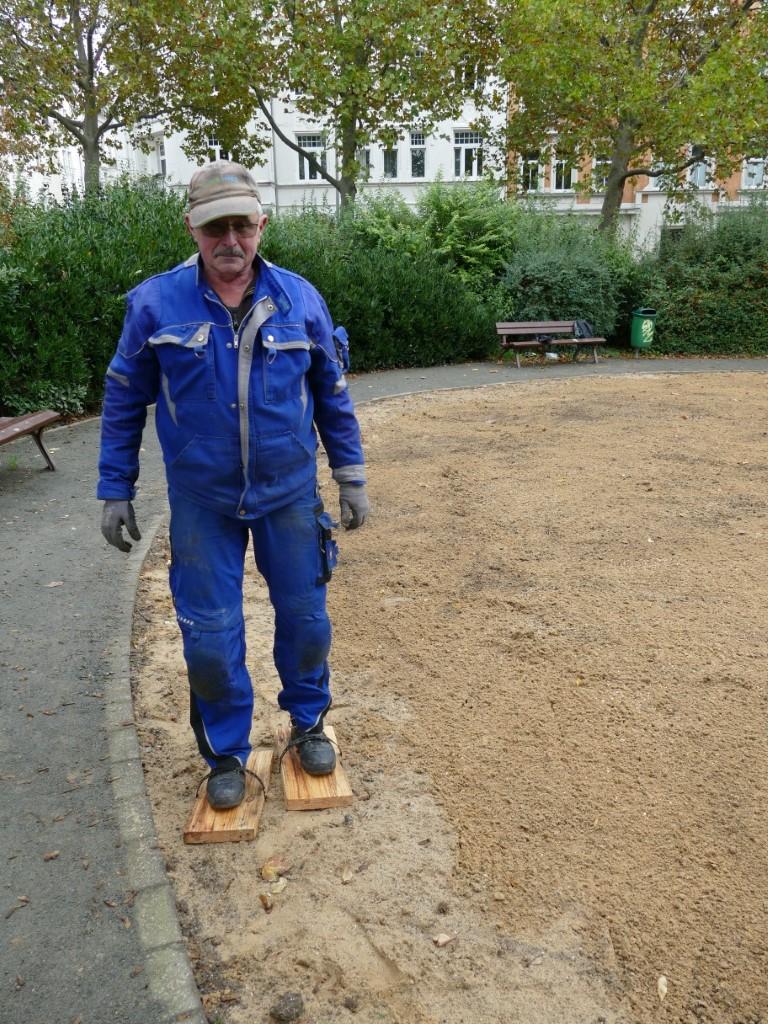 """außerdem wurde die Fläche mit """"Schaffüßen"""" bearbeitet, um das Saatgut besser im Boden zu halten."""