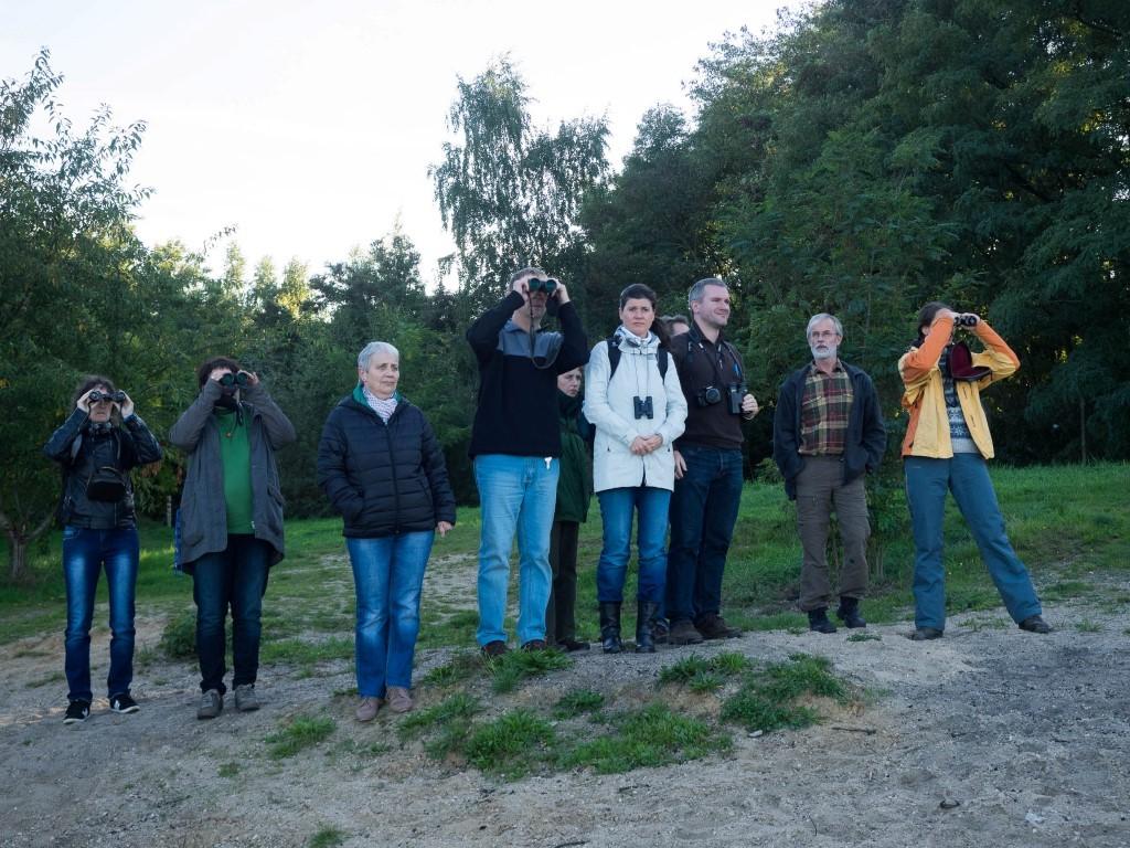 12 Vogelfreunde waren mit Karsten Peterlein (3.v.r.) vom NABU Leipzig zur Zugvogelbeobachtung unterwegs.</p>Foto: Dr. Fabian Haas