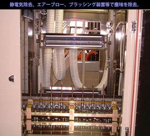 静電気除去、エアーブロー、ブラッシング装置等で塵垢を除去。