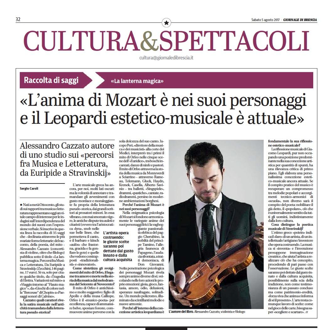 """Recensione su """"Giornale di Brescia"""", 2017"""