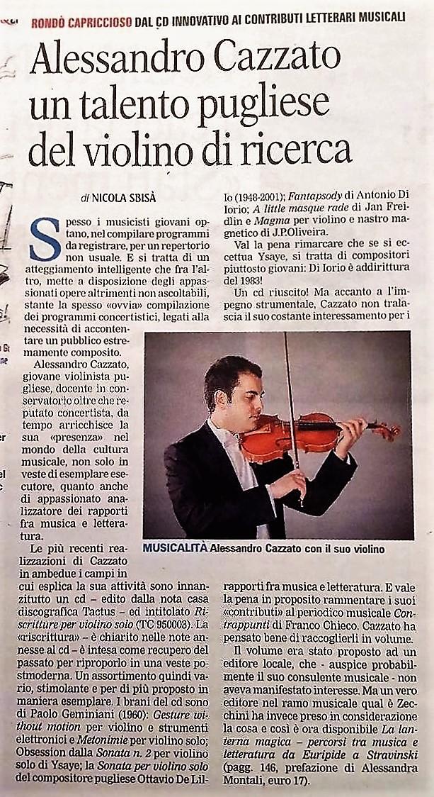 """Recensione su """"Gazzetta del Mezzogiorno"""", 2016"""