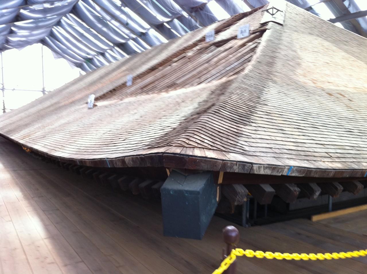 瓦を取り除いた屋根の下地